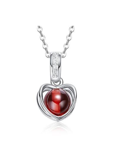 Fashion Hollow Heart Red Garnet Bead 925 Silver Pendant
