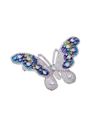 Fashion Cubic Zirconias Butterfly Platinum Plated Copper Brooch