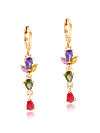 Copper With 18k Gold Plated Fashion Water Drop Earrings