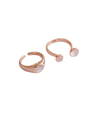 925 Sterling Silver With Rose Gold Plated Simplistic Round Free Size  Rings