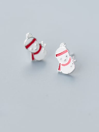 925 Sterling Silver With Platinum Plated Cartoon little Snowman Christmas Old Mman Stud Earrings