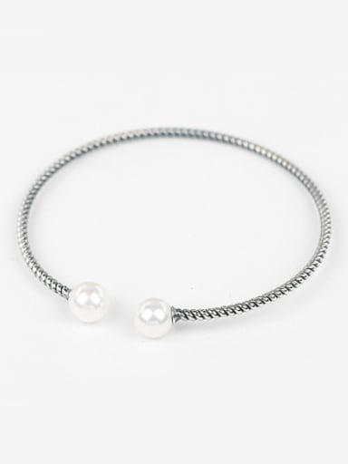 Simple Freshwater Pearls Opening Bangle