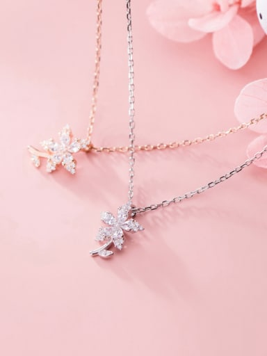 925 Sterling Silver With Cubic Zirconia Plated Fashion Flower Necklaces