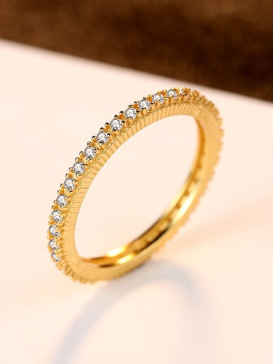 Pure silver plating 18K-gold AAA zircon ring