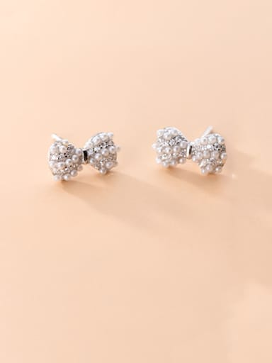 925 Sterling Silver With Artificial Pearl  Cute Bowknot Stud Earrings