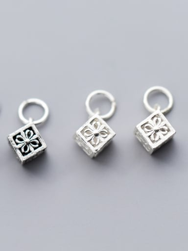 925 Sterling Silver With Silver Plated Classic Square Charms