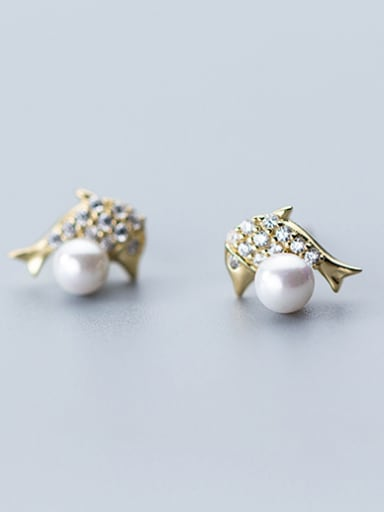 Lovely Dolphin Shaped Gold Plated Artificial Pearl Stud Earrings
