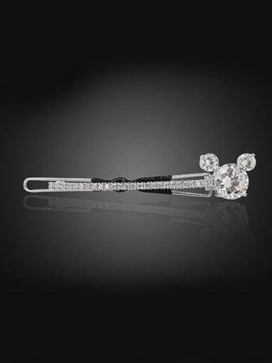 Simple Mickey Shiny Cubic Zirconias Copper Hairpin