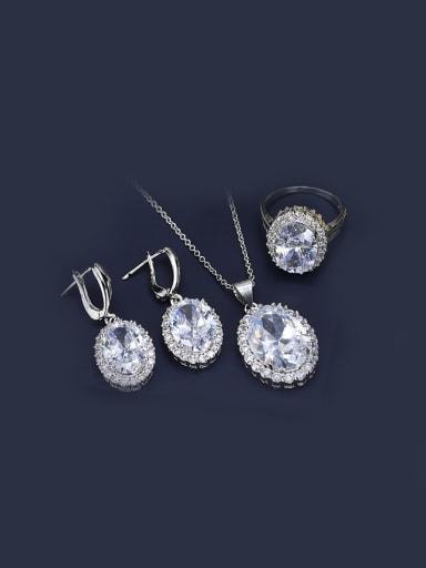 Oval Zircon Wedding Jewelry Set