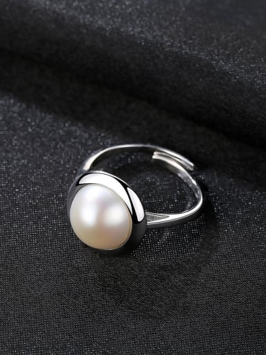 Sterling Silver 10-10.5mm natural pearls free size ring