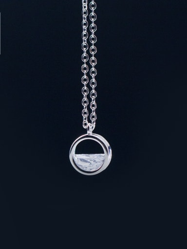 S925 silver Simple hollow Round drill necklace