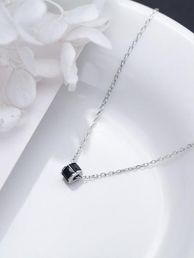 Delicate Black Geometric Shaped Rhinestone S925 Silver Necklace