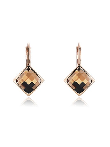 Champagne Square Shaped Austria Crystal Drop Earrings