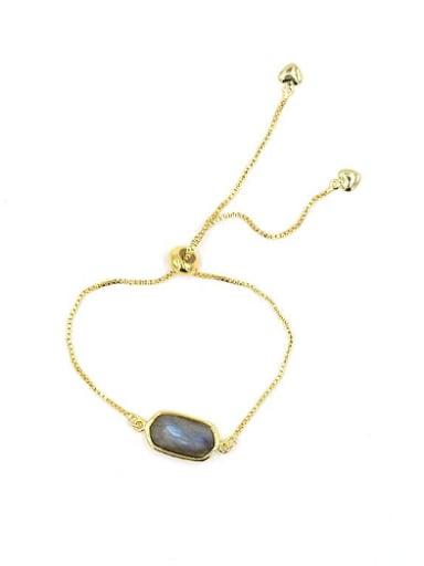 Simple Gemstones Gold Plated Adjustable Bracelet