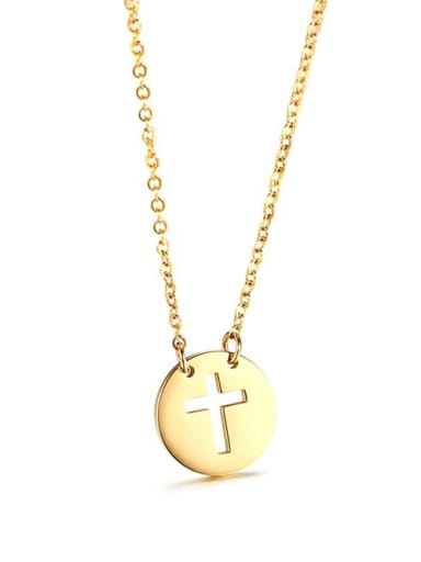 Exquisite simple hollow cross Stainless Steel Necklace