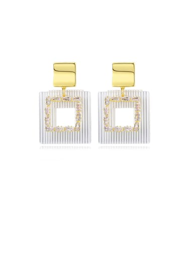 Copper With Gold Plated Exaggerated Hollow Square Drop Earrings