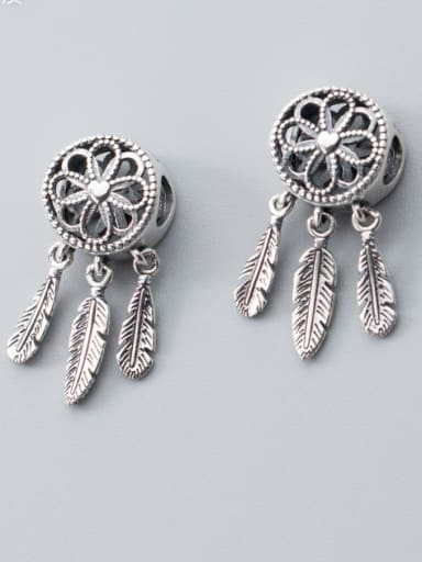 925 Sterling Silver With Antique Silver Plated Vintage Flower Charms