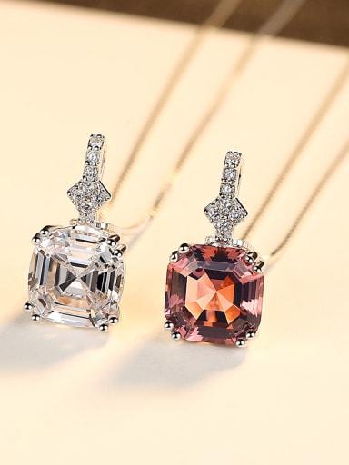 Sterling silver shining semi-precious stones necklace