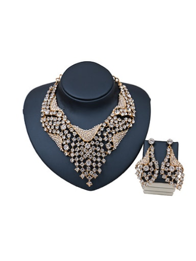 Irregular Glass Rhinestones Two Pieces Jewelry Set