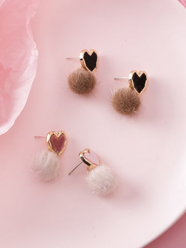 Alloy With Rose Gold Plated Cute Heart  Plush ball Drop Earrings