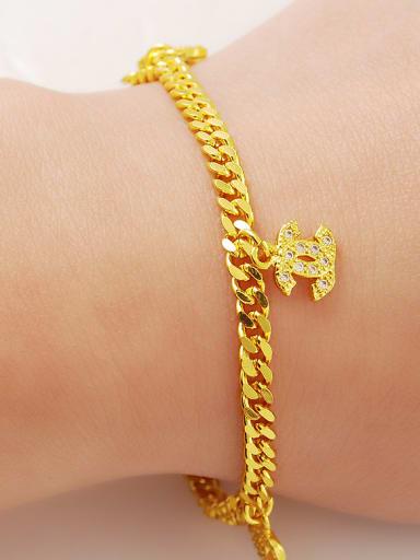 Elegant 24K Gold Plated Letter X Shaped Zircon Bracelet