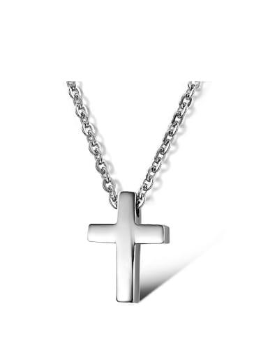 Simple Cross Titanium Smooth Necklace