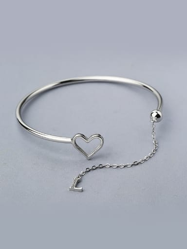 Simple Hollow Heart Letter L 925 Silver Opening Bangle
