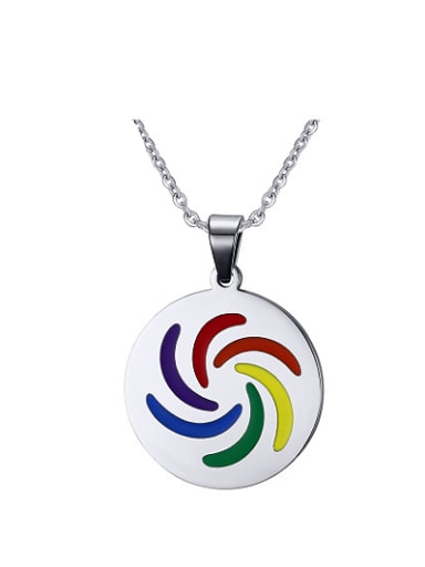 Multi-color Round Shaped Glue Stainless Steel Pendant