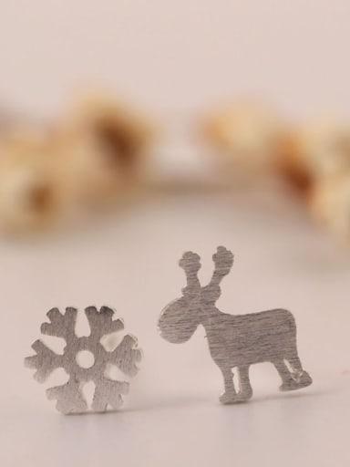 S925 Silver Deer Snowflake Stud Earrings