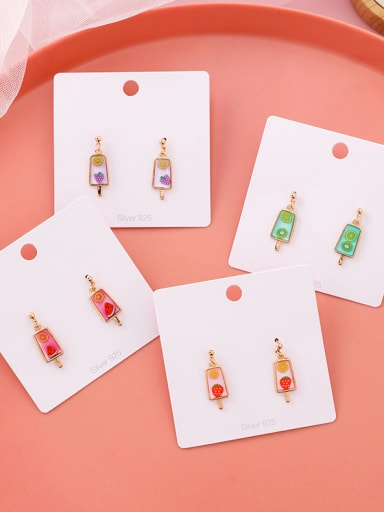 Alloy With Rose Gold Plated Cute Friut Ice Cream Drop Earrings
