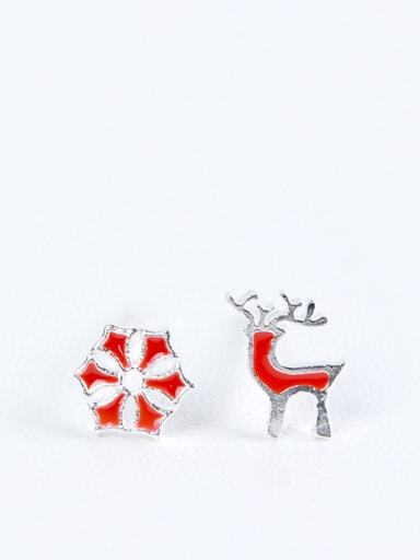 Asymmetrical Personalized Little Red Deer Snowflake 925 Silver Stud Earrings