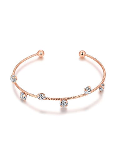 Open Design Rose Gold Plated Rhinestones Bangle