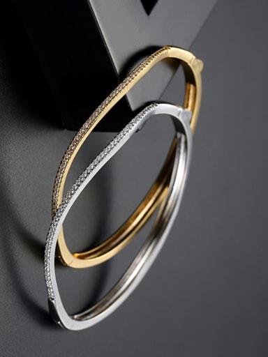 Copper inlaid AAA zircon simple wave Bracelet