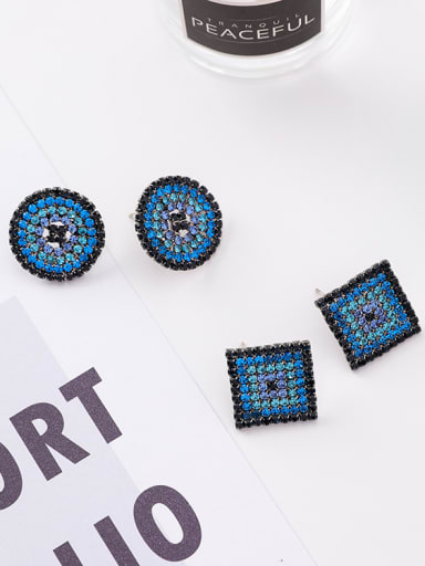Alloy With Black Gun Plated Rhinestone Geometric Party Stud Earrings