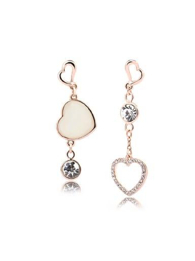 Women 18K Rose Gold Anti-allergic Heart-shaped Stud drop earring