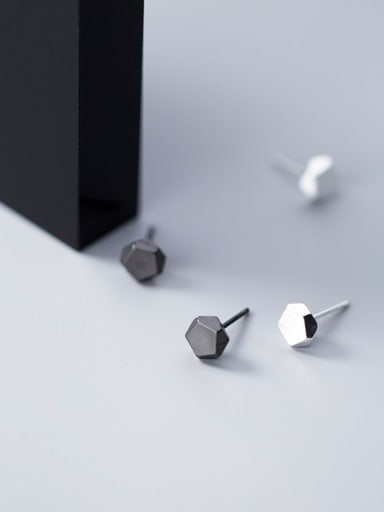 Sterling Silver minimalist stereo black and white studs
