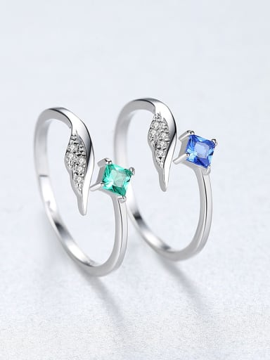 Sterling silver rings with colorful zircon free size rings