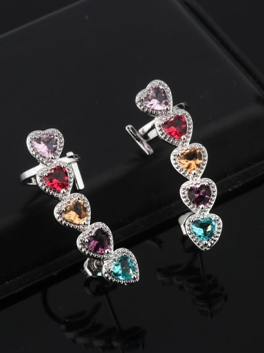 Copper With Glass stone Fashion Heart Stud Earrings