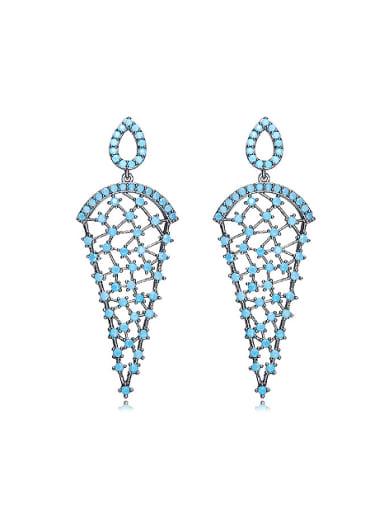 Retro style Hollow Tiny Turquoise Stones Copper Stud Earrings