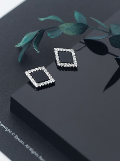 925 Sterling Silver With Silver Plated Simplistic Rhombus Stud Earrings