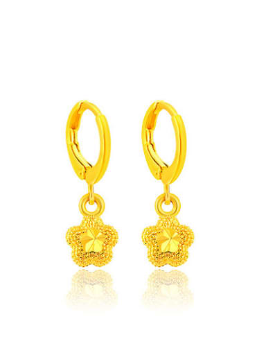 Women Exquisite Flower Shaped Gold Plated Drop Earrings