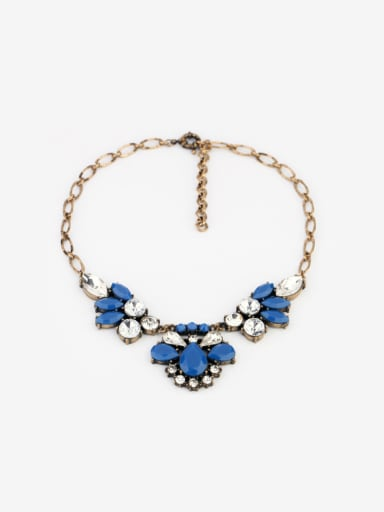Flower Shaped Artificial Stones Alloy Necklace