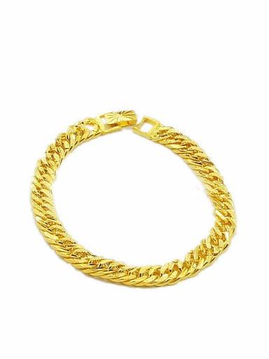 Men Exquisite 24K Gold Plated Geometric Shaped Copper Bracelet
