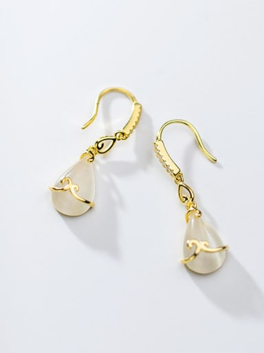 925 Sterling Silver With Gold Plated Simplistic Water Drop Hook Earrings