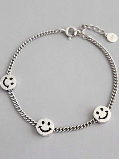 925 Sterling Silver With Antique Silver Plated Simple Smiley face  Bracelets