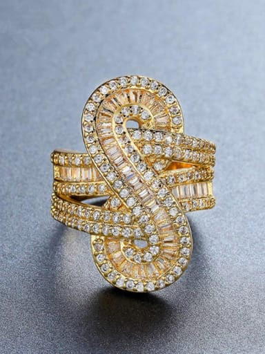 Copper With  Cubic Zirconia Exaggerated Party Statement Rings
