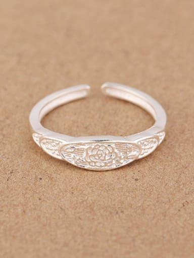 Retro Flower Silver Opening Midi Ring