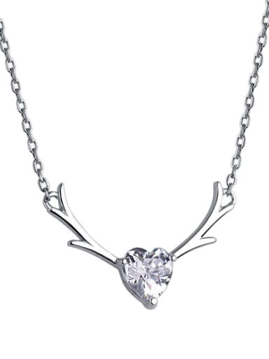 925 Sterling Silver With Cubic Zirconia Simplistic Elk antler Heart Necklaces