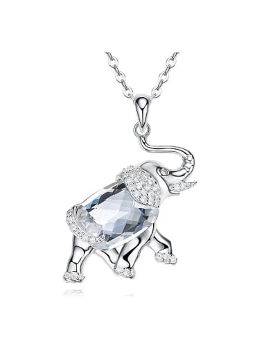 Personalized White Swarovski Crystal Little Elephant 925 Silver Necklace