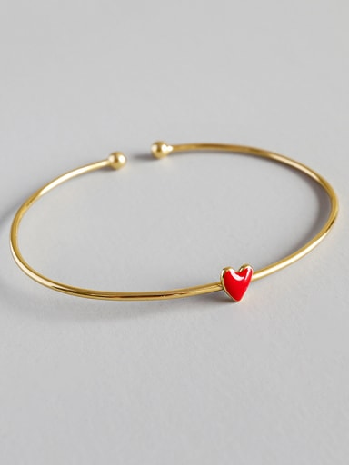 Pure silver Fashion Red Epoxy Love Gold Plated Bracelet